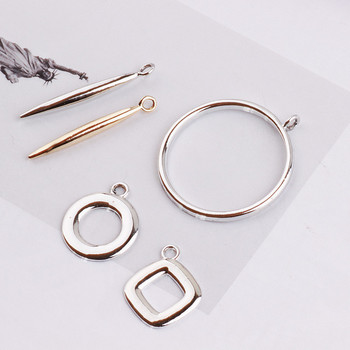 Diy jewelry earring pendants accessory 50pcs/lot copper alloy gold/silver tone cartoon Round bar/Circle rings shape metal charms