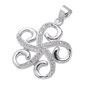 Fashion Jewelry Hollow Flowers 22 * 20mm Pendant Ladies Accessories Micro Pave Handmade Necklace DIY Jewelry Finding
