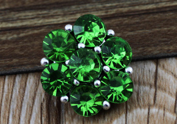 PAPAPRESS 10pcs/lot Metal Snaps Green Rhinestone Flowers Snap Buttons 18mm Snap Fit Snap Bracelet Button Snap Jewelry N935