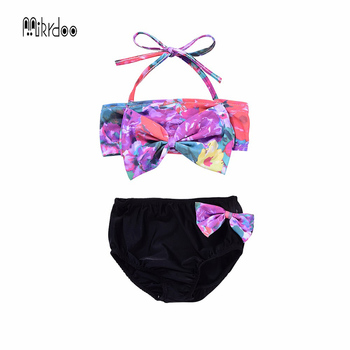 Mikrdoo Baby Girls Floral Bikini Swimwear Sets Flower Tops shorts Bowknot sweet Swimsuit Bathing Suit Clothes Summer top Clothes